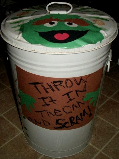 Sesame Street Sign Made From Construction Paper Bert And Ernie Birthday Decoration Oscar Trash Can