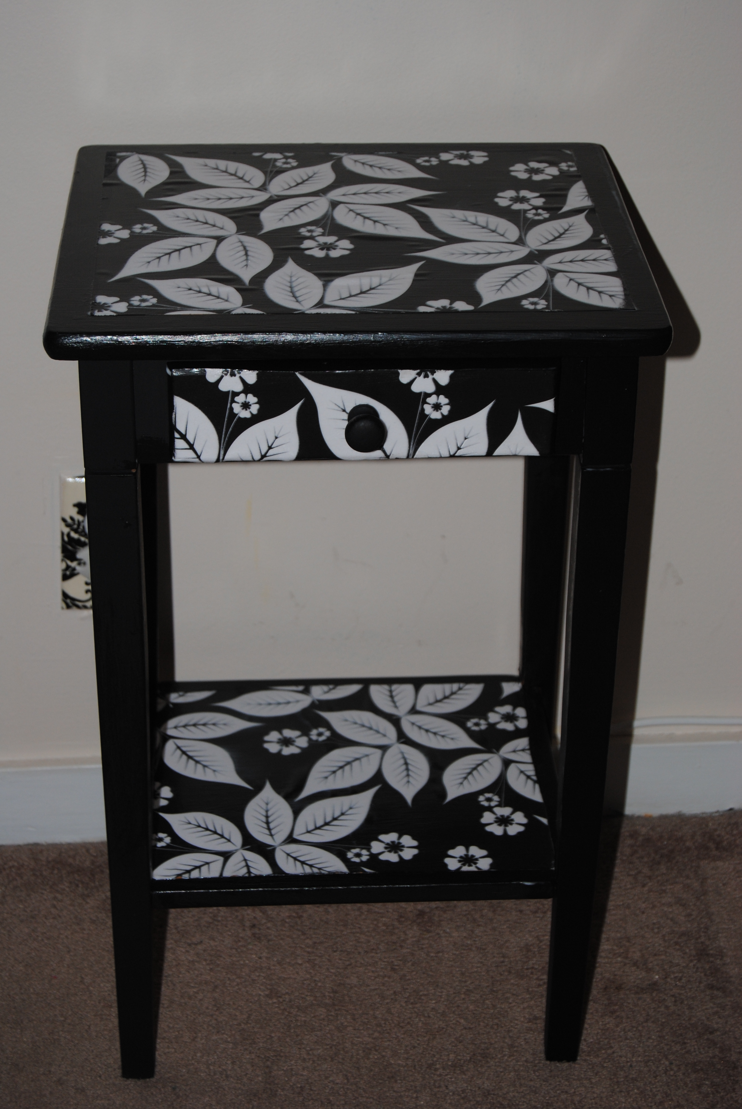 Bedside Table Restyled With Decoupage On The Upcycle