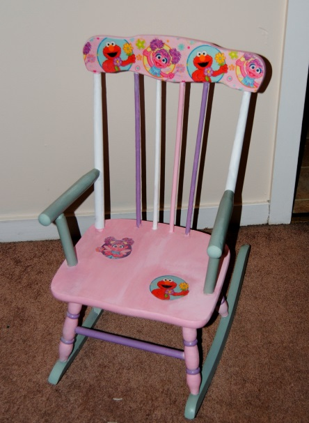 Sesame Street Girls Painted Kids Rocking Chair Made With