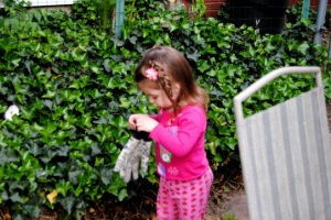 A toddler in the garden