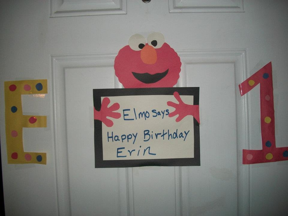 Sesame Street Birthday decorations made from construction paper