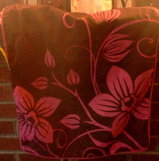 The Pillow Case Makeover: Upcycled, Pink and Brown Hand Painted Decoupage Chair  (2/5)