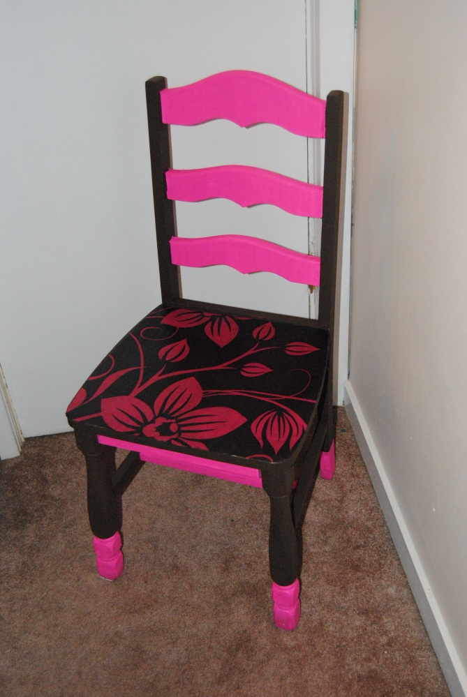 The Pillow Case Makeover: Upcycled, Pink and Brown Hand Painted Decoupage Chair  (1/5)