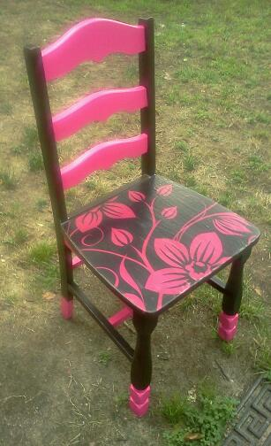The Pillow Case Makeover: Upcycled, Pink and Brown Hand Painted Decoupage Chair  (4/5)
