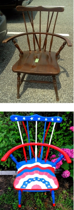 Patriotic decopage Painted chair before and after