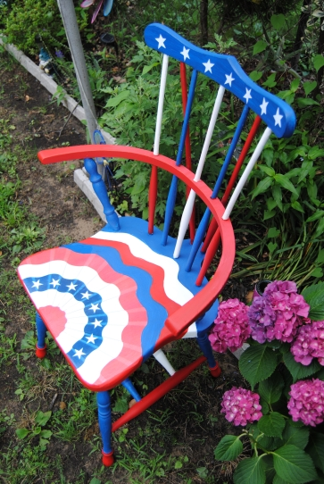 Patriotic Windsor Style Chair