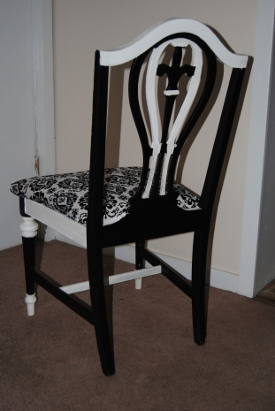Back of B&W Damask Chair
