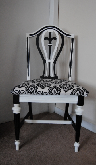 Black and White Demask Upcycled Chair