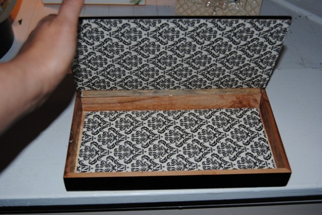 Decoupage Wooden Cigar Box Inside
