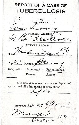 Eva Long Admission Card, 1927