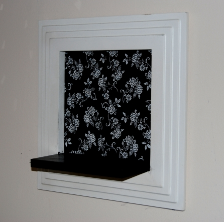Shelf restyle, paint fabric and Mod Podge