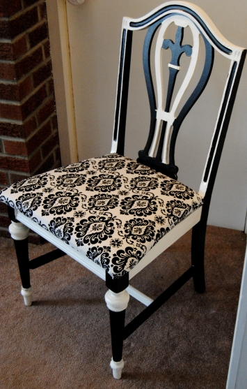 Upcycled Black and White Damask Chair