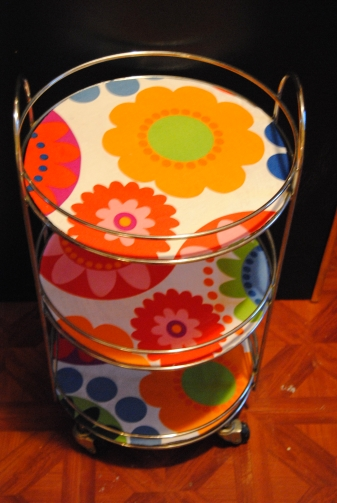Upcycled Rolling Glass Table Restyled with Ikea Fabric