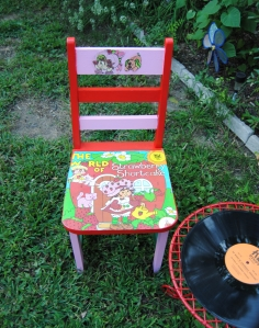 Upcycled Strawberry Shortcake Kids Record Chair