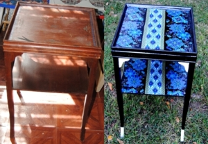 peacock table before and after