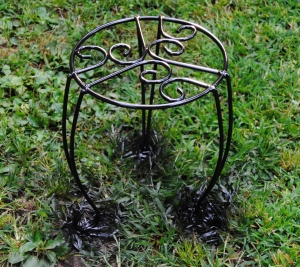 Spray painted metal plant stand