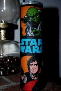 Star Wars Mod Podge candle chracter fabric
