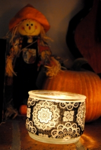 Upcycled Candle holders made with fabric and Mod Podge