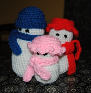 Crocheted Snow People Family