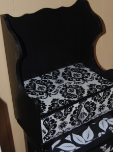 Decoupage Black and White Damask Wall Shelf with drawer