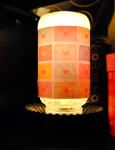Valentine's Day Jar Lamp made with Scrapbook paper and Mod Podge