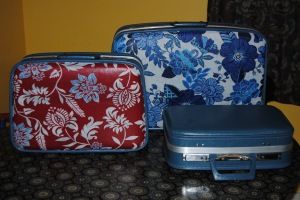 decoupage vintage suitcases with fabric and Mod Podge