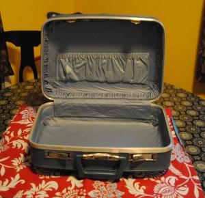 Vintage suitcase pillow sham decoupage makeover