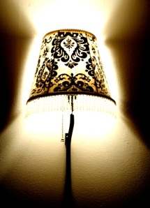 Decorate a boring lampshade with fabric