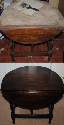 Before and After Refinished Drop Leaf Table