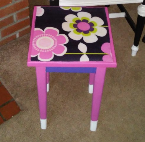 Crazy for Corduroy: Girls Flower Power Decoupage Side Table (5/6)